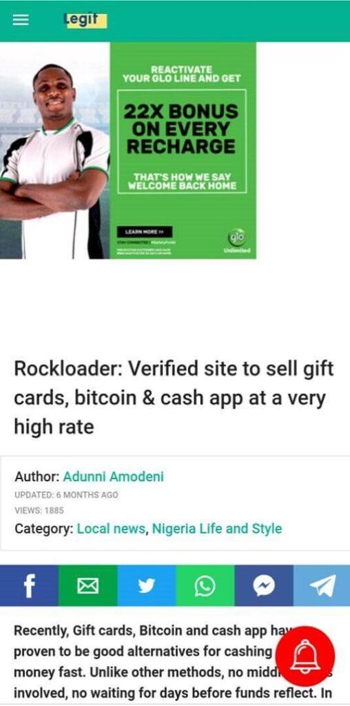 Rockloader verified by Legit.ng